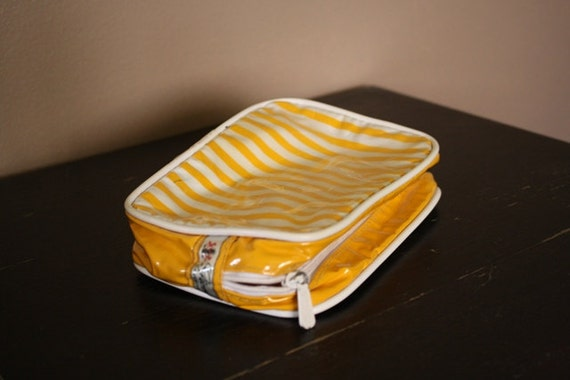 Vintage Makeup Cosmetic Bag Small Bright Yellow and White Purse