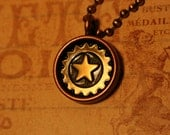 Simple Star and Gear Steampunk Necklace