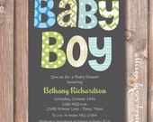 Modern Baby Boy Blue and Green Shower Invite Boho Polka Dots Aqua & Lime Green Gray - Funky Letters - Baby Boy- Printable Invitation