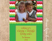 Bright Zigzag Stripe Digital Holiday Photo Card 5x7