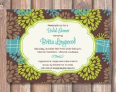 Turquoise and Lime Floral Invitation