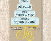 Funky Modern Wedding Cake Bridal Shower Couples Shower Kraft and Light Blue Printable Wedding Shower or Baby Shower Invitation
