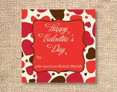 Chocolate Covered Hearts Printable Personalized Valentine's Day Gift Tags