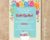 Bright and Colorful Easter Eggs Invitation Easter Birthday Party Baby Boy Baby Girl Easter Egg Hunt Invite Funky Easter Printable Invitation