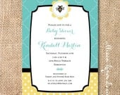 Aqua Yellow and Black Bumblebee Invitation Printable Baby Shower What Will it Bee? Gender Reveal Party Elegant Bee Printable Invitation