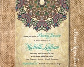 Boho Medallion Bridal Shower Invitation Rustic Byzantine Printable Invitation Couples Shower Wedding Shower Rehearsal Dinner