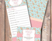 Printable Baby Shower Game - English Garden Wishes for Baby - INSTANT DOWLOAD