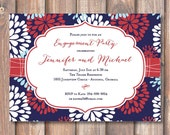 Firework Floral Fourth of July Patriotic Independence Day First Birthday Party Firecracker Baby Boy Shower Invite BBQ Printable Invitation
