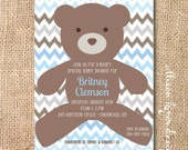 Baby Boy Teddy Bear Shower Invitation Beary Sweet Printable Invitation Baby Boy First Birthday Twin Boys Light Blue Chocolate Brown Chevron