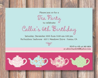 Whimsical Aqua & Hot Pink Tea Party Birthday Invitation Printable Girly Tea Party Invite Elegant Little Girl's Tea Party Baby Tea Bridal Tea