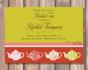 Boho Teapots Tea Party Invitation Printable Bridal Tea Invitation Baby Shower Tea Ladies Luncheon Corporate Tea Party Chartreuse Red Pink