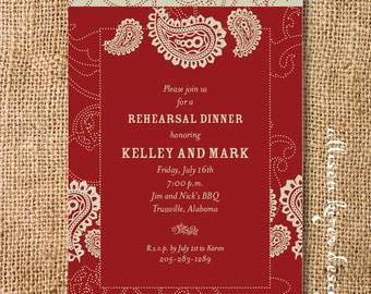 Red Bandana Western Couples Shower Invitation Printable Rehearsal Dinner Invitation Sophisticated Red Western Paisley Birthday Party Invite