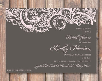 Mehndi Printable Bridal Shower Invitation Charcoal Gray Pale Pink Elegant Boho Paisley Bridal Shower Bridesmaids Luncheon Birthday Party