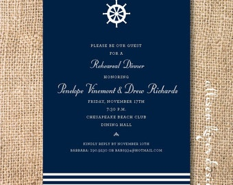 Navy and White Nautical Wedding Baby Boy Twin Boys Masculine Birthday Party Captains Retirement Party Nantucket Printable Shower Invitation