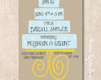 Funky Modern Wedding Cake Bridal Shower Couples Shower Kraft and Light Blue Printable Wedding Shower or Baby Shower Invitation