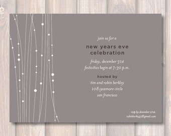 Modern Sophisticated Gray Birthday Party Invitation Masculine Gray Lights Rehearsal Dinner Printable Invite New Years Eve Party Dinner Party