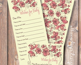 Printable Baby Shower Game - Pink Floral Frame Wishes for Baby - INSTANT DOWLOAD