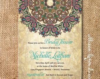 Boho Medallion Bridal Shower Invitation Rustic Byzantine Printable Invitation Couples Shower Wedding Shower Rehearsal Dinner