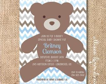 Baby Boy Teddy Bear Shower Invitation Beary Sweet Printable Invitation Baby Boy First Birthday Twin Boys Light Blue Chocolate Brown Chevron