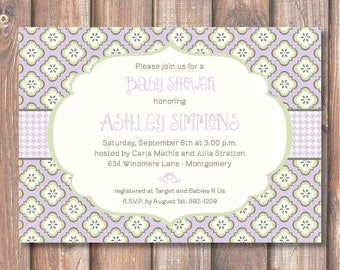 Cute Lavender Gingham Baby Girl Invitation Printable Purple & Lime Floral Printable Invite Bridal Shower Birthday Party Bridesmaids Luncheon
