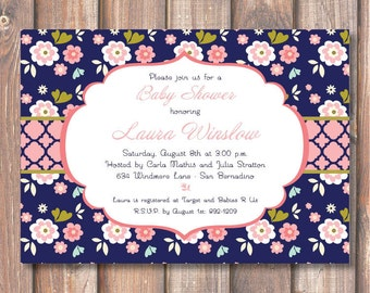 Pink and Navy Sweet Baby Shower Floral Printable Invitation Baby Girl Light Pink & Navy Bridal Shower Invite Printable Aqua Pastel Pink Navy