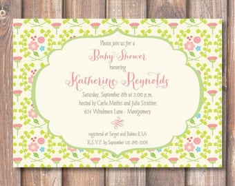 Whimsical Pink and Green English Garden Floral Lime Green and Pink Enchanted Floral Flowers Baby Shower Bridal Shower Tea Party Birthday