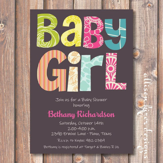 Boho Baby Girl Shower Invite Hot Pink and Gray Funky Letters Yellow and Pink Modern Baby Shower Teal Lime & Green Printable Invitation
