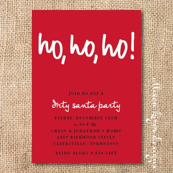 Ho Ho Ho Red Christmas Invitation Simple Santa Printable