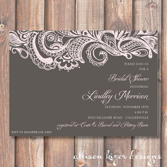 Mehndi printable bridal shower invitation charcoal gray pale like this item stopboris Choice Image