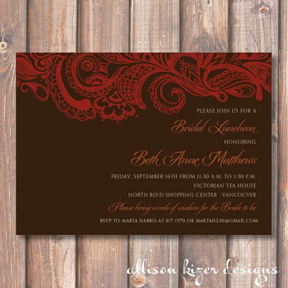 Chocolate Mehndi Printable Bridal Shower Invitation