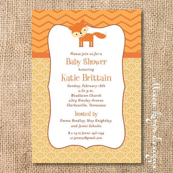 Orange Cute Fox Baby Shower Invitation Friendly Fox First Birthday Party Printable Invite Baby Boy Baby Girl Gender Neutral Twins Woodland