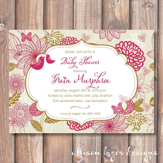 Magenta and Olive Birds and Butterflies Baby Shower Printable Invitation Baby Girl Funky Invite Floral Birdies Lovebirds Bridal Shower