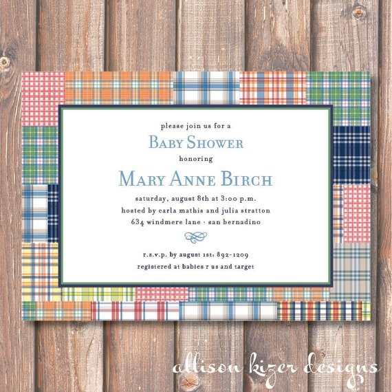 Classic Baby Boy Shower Invitation Printable Madras Plaid Printable Invite First Birthday Christening Retirement Party Masculine Graduation