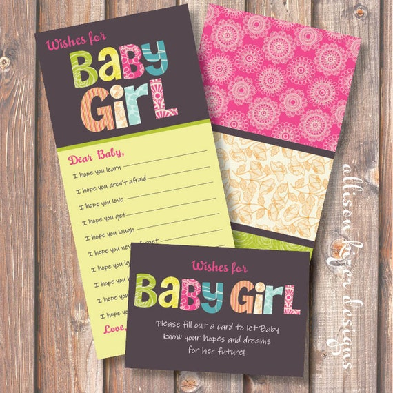 Printable Baby Shower Game - Funky Baby Girl Letters Wishes for Baby - INSTANT DOWLOAD