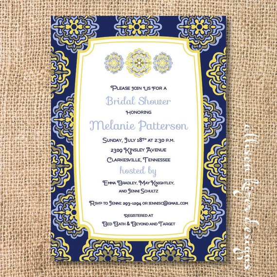 Moroccan Bridal Shower Tapas Party Navy and Yellow Baby Shower Baby Boy Shower Paisley Medallions Spanish Tiles Printable Invitation