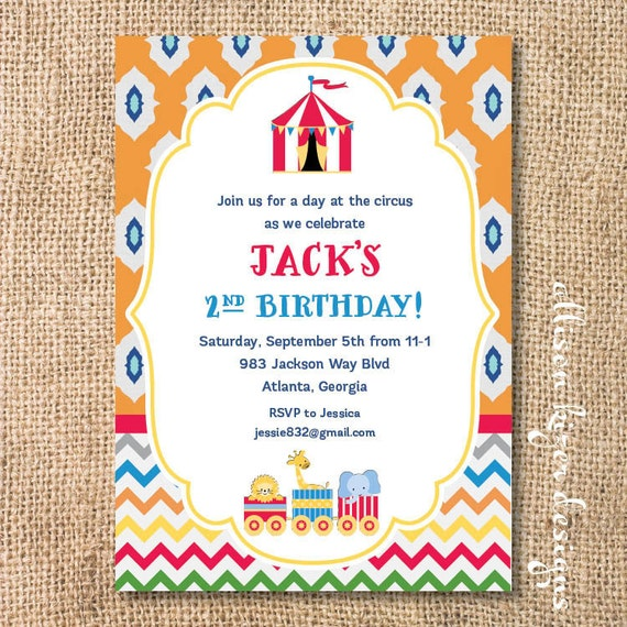 Boho Circus Baby Shower Invitation Printable Vintage Circus Train Printable Invite Big Top Birthday Party Triplets Circus Party