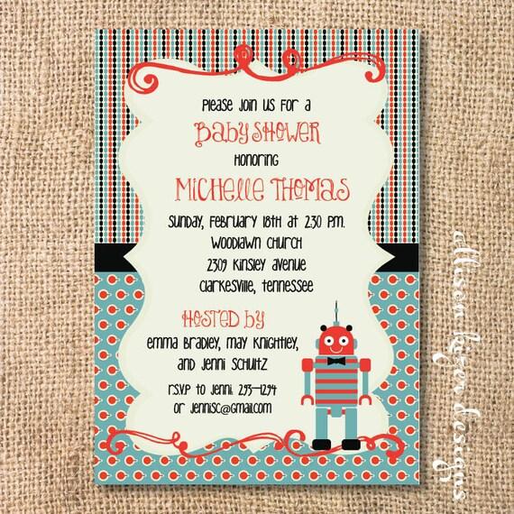 Red and Aqua Boho Robot Invitation Baby Boy Shower Funky Robot Printable Invitation
