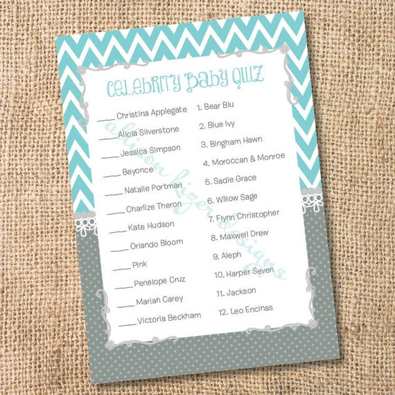 Printable Celebrity Baby Match Game Teal and Gray Chevron Printable Baby Shower Game Aqua & Grey Chevron Stripes Polka Dots- INSTANT DOWLOAD