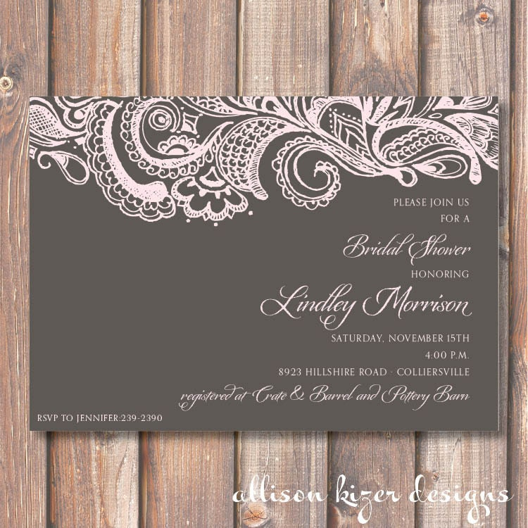 Mehndi Printable Bridal Shower Invitation Charcoal Gray Pale