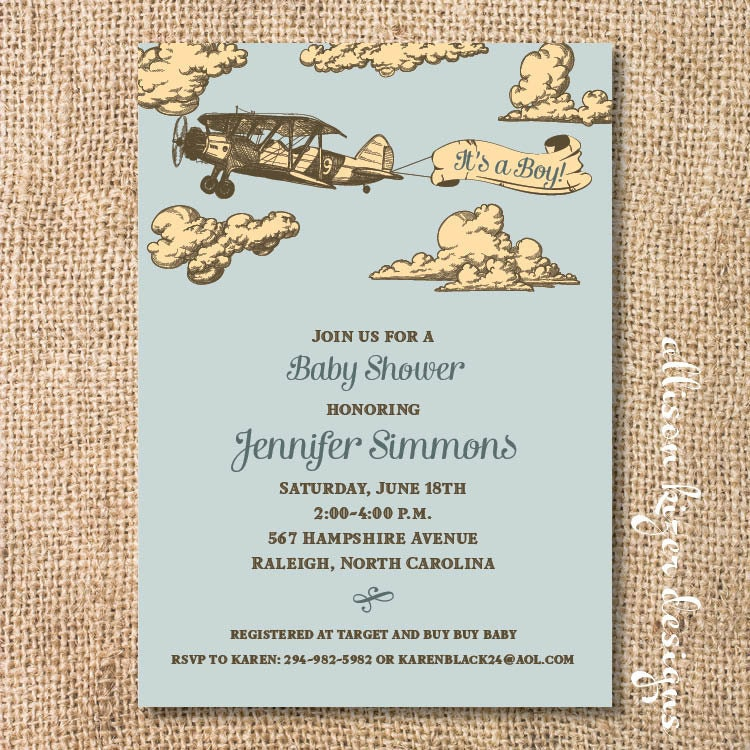 vintage airplane baby boy shower invitation printable it 39 s
