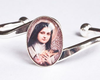 St. Therese (Little Flower) silver bracelet with pink glitter