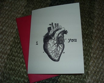 I heart you - single stamped card  // valentine // available in sets of 4, 10 and more