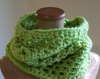 lime green chunky cowl- crochet neckwarmer
