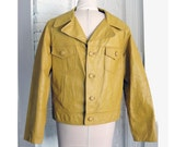 vintage 1960s Mens Leather Jacket Mellow Yellow Mexico 44