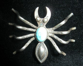 STERLING silver Spider pin Turquoise back NAVAJO design