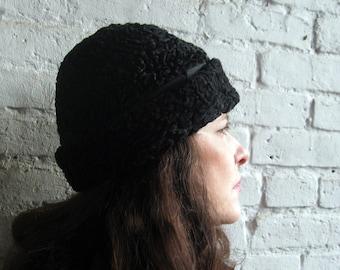 """vintage 1930s 40s Hat faux PERSIAN LAMB hat 22"""" black"""