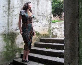 1980s dress Gorgeous autumn colors modern abstract Great details All That Jazz