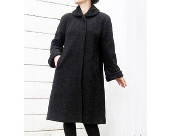 1940s coat long black SWING coat GORGEOUS wool faux persian lamb collar