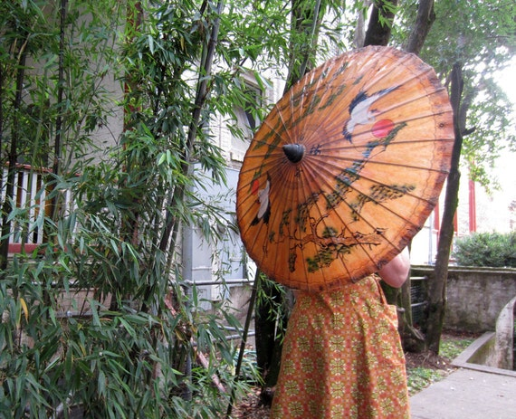 Vintage 1930s parasol Asian Hand painted Crane Pine Trees Red Sun Handmade paper
