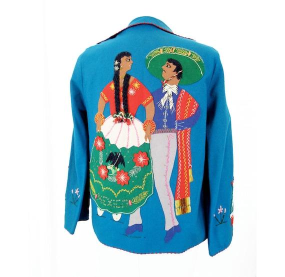 mid century souvenir jacket Teal Blue Wool Felt Mexican Dancers Lovely 1950s Folk Jacket